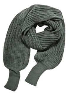 Hang-Qiao Wool Knitted Batwing Scarf (Grey)