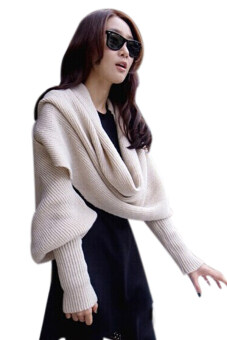Hang-Qiao Wool Knitted Shawl (Beige)