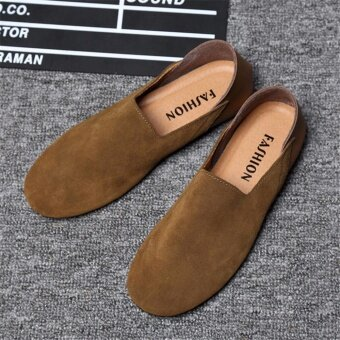 Hanyu 2017 New Fashion Genuine Leather Men's Peas Shoes Slip-OnsBreathable Casual Shoes(Khaki