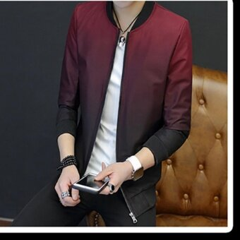 Hanyu Men fashion casual slim fit high quality korean style stand collar baseball jacket (Red) - intl