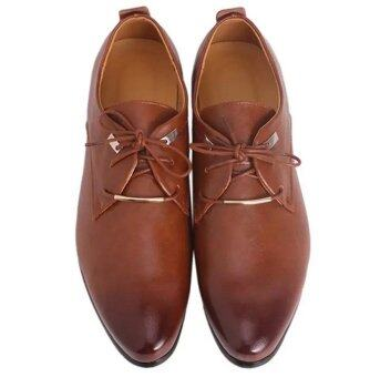 Hanyu Men PU Leather Lace Up Cap-Toe Business Casual Shoes Brown -intl