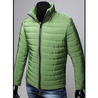 Hanyu New Fashion Coat Winter Men's Cotton Collar Casual Jacket Thicker Warm Cotton Jacket(Green) - intl