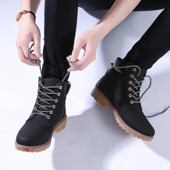 Hanyu Winter Shoes PU Leather Patchwork Strapped Flat Fashion Women Boots Black