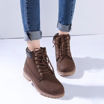 Hanyu Winter Shoes PU Leather Patchwork Strapped Flat Fashion WomenBoots Brown
