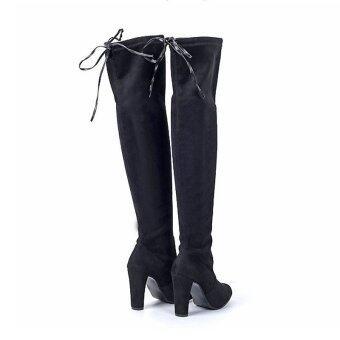 Hanyu ผู้หญิงแฟชั่นรองเท้าส้นสูงเข่ารองเท้าบู๊ตยาวสีดำ