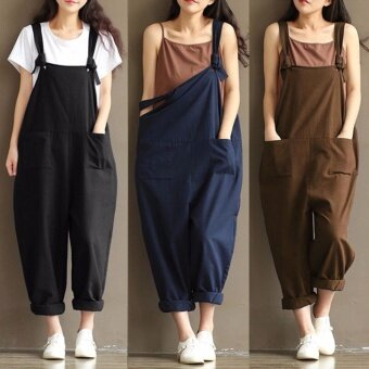 Hanyu Womens Casual Loose Strap Dungaree Jumpsuits Overalls Long Trousers Overalls Harem Pants (Dark blue) - intl