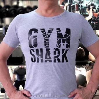 Hayashi-เสื้อยืดเข้ารูป เสื้อฟิตเนส ออกกำลังกาย Gym shark ( สีเทา )