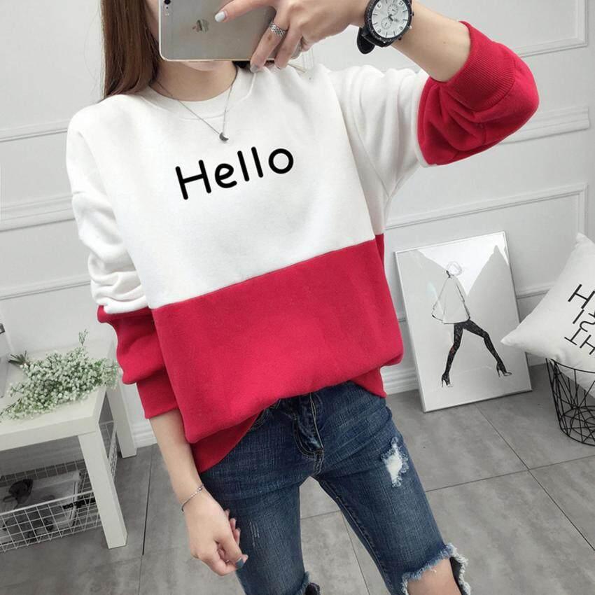 เสื้อกันหนาวแขนยาวแฟชั่นพร้อมส่ง แต่งสีขาวสลับแดง แต่งสกรีนลายHello