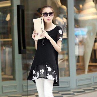 HengSongเสื้อแขนสั้นปักเสื้อผ้าผู้หญิงแต่งตัวเสื้อชีฟองเกาหลีเวอร์ชันสีดำ (image 2)