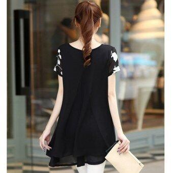 HengSongเสื้อแขนสั้นปักเสื้อผ้าผู้หญิงแต่งตัวเสื้อชีฟองเกาหลีเวอร์ชันสีดำ (image 1)