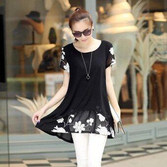 HengSongเสื้อแขนสั้นปักเสื้อผ้าผู้หญิงแต่งตัวเสื้อชีฟองเกาหลีเวอร์ชันสีดำ