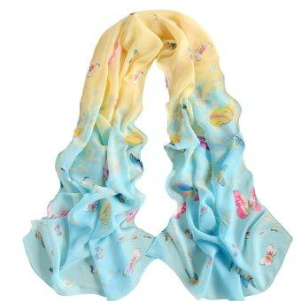 HengSong Fashion Women Ladies Chiffon Scarfs Shawl Scarves yellow +blue - intl