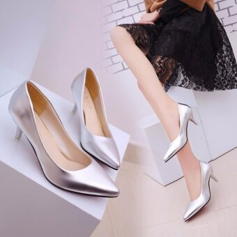HengSong Korean Fashion Patent Leather Tip High Heels Shallow Mouth Shoes Occupation Women's Single Shoes Pumps (Sliver) - intl