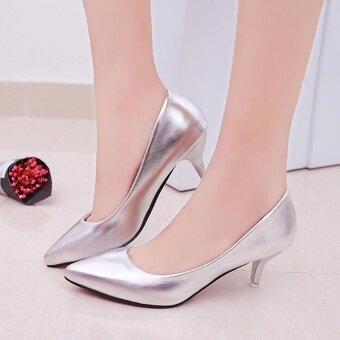 HengSong Korean Fashion Patent Leather Tip High Heels Shallow Mouth Shoes Occupation Women's Single Shoes Pumps (Sliver) - intl - 2