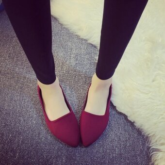 HengSong New Fashion Women Leisure Shoes Broken Drill Feet Flat Slippers Elastic Cloth Slippers(Red