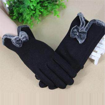 HengSong Women Winter Touch Screen Velvet Warm Gloves Black - intl
