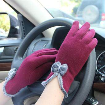 HengSong Women Winter Touch Screen Velvet Warm Gloves Jujube red -intl