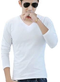 แขนเสื้อยาว Hequ บุรุษเสื้อยืดบางเสื้อยืด (ขาว)
