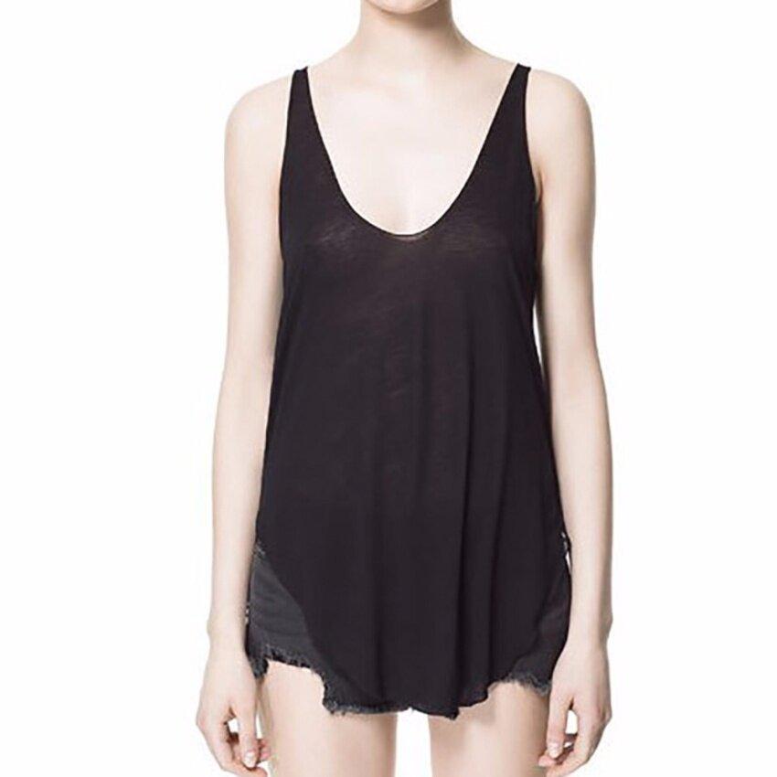 Hequ Summer Women Tops Sleeveless V Collar Vest Blusas Casual Loose Solid Tee Shirt Tank Black - intl