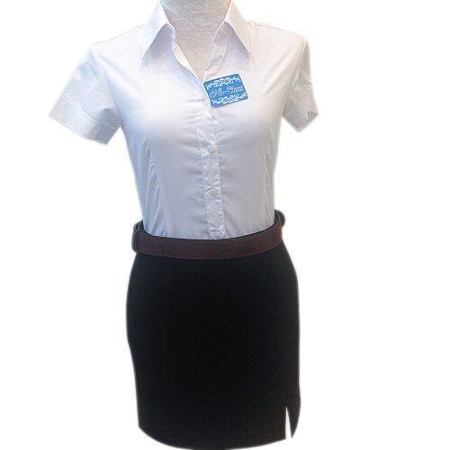 Hi-Class เสื้อเชิ๊ต นักศึกษาหญิง แขนสั้น สีขาว เข้ารูป แบบตีเกล็ดหน้า-หลัง