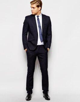 Hi-class Suit ชุดสูท ชาย ทรงเข้ารูป Slim (สีกรมท่า navy blue)
