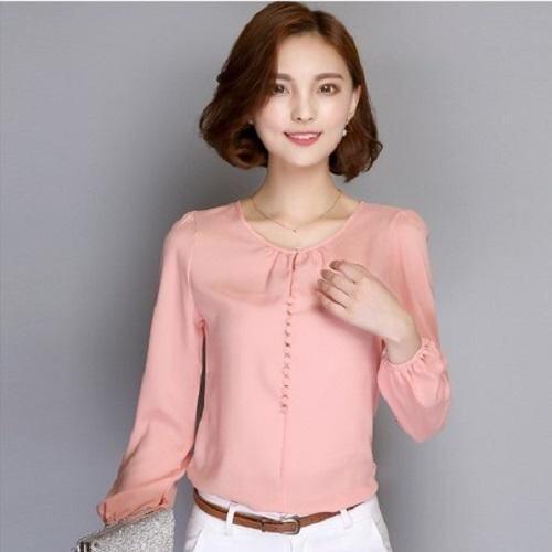 คุณภาพสูงผู้หญิง Blouses เสื้อเชิ๊ตแขนยาวแบบอินเทรนด์ฤดูใบไม้ร่วงเสื้อชีฟองสไตล์เกาหลีเสื้อลำลองหลวมผู้หญิง Blusas สีชมพู INT 3XL ต่างประเทศ
