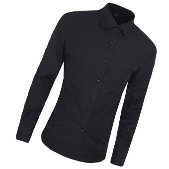 High Quality Autumn Fashion Men Clothes Slim Fit Men Long Sleeve Shirt Men Cotton Casual Men Shirt Social (black) - intl