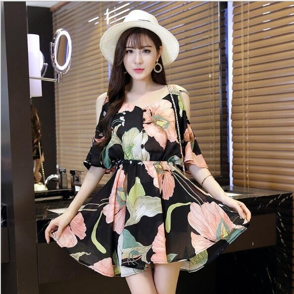 (High quality - fast delivery) new Korean version of the chiffon dress, printing, was thin V-neck, harness, waist, lotus leaf skirt - intl