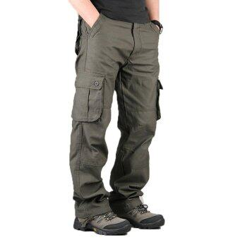 High Quality Men's Cargo Pants Casual Mens Pant Multi Pocket Military Overall Men Outdoors Long Trousers 30-44 Plus size (Army Green)