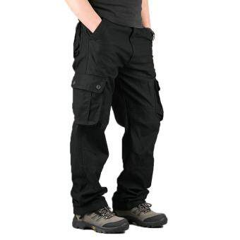 High Quality Men's Cargo Pants Casual Mens Pant Multi Pocket Military Overall Men Outdoors Long Trousers 30-44 Plus size (black)