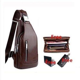 High Quality Mens Chest Bag Korean Leather Crossbody Messenger Bagshoulder Chest Crossbody Sling Bag For Men (Brown) - intl