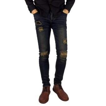 HipPER กางเกงยีนส์ชายขาเดฟสกินนี่ ฟอกขาดเข่า (สีน้ำเงินเทา) Type-CH154-5