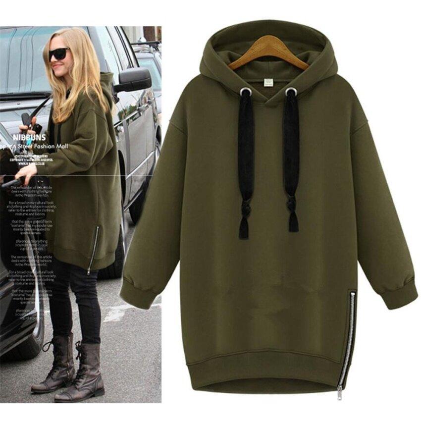 เสื้อกั๊กฤดูหนาวเสื้อแจ็คเก็ตสตรีสตรีเสื้อคลุมยาวลำลองดึงเสื้อนอก Hoodies พลัสขนาดกองทัพสีเขียว