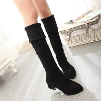 Harga Hot Deal Women's PU Leather Mid- Heels Over-the-Knee Boots (Black)- intl