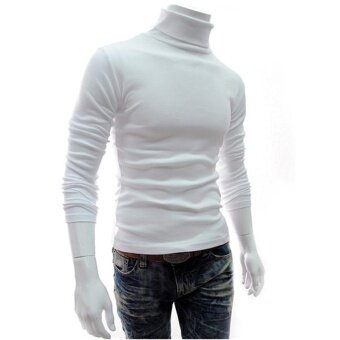 Harga Hot fashion Men's High-necked Solid Color Simple FashionSweater(white) - intl