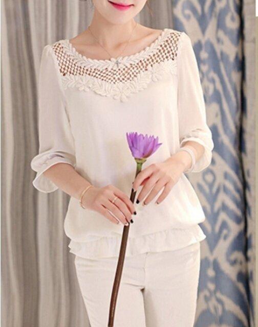 (HOT) new women / temperament sweet / short sleeve / loose shirt - intl