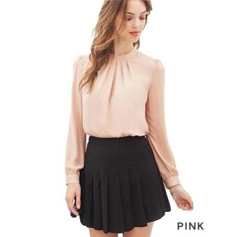 Harga Hot Sale Unique Chest Kink Folds Long Sleeve Slim Chiffon BottomingShirt Pink - intl