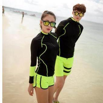 [หญิง] ชุดว่ายน้ำคู่รัก แขนยาว Superior UV Rashguard ของผู้หญิง # 17030