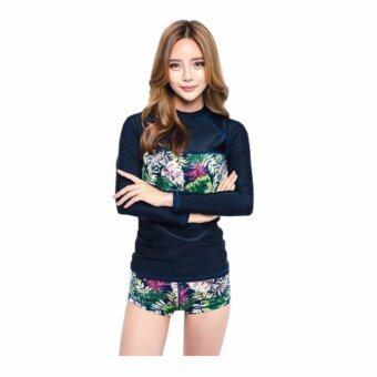 [หญิง] ชุดว่ายน้ำผู้หญิง Flower Line แขนยาว กางเกงขาสั้น สีกรมคาดลายดอกไม้ เซ็ต 2 ชิ้น ชุดว่ายน้ำคู่รัก ไซต์ M-XL # 17024