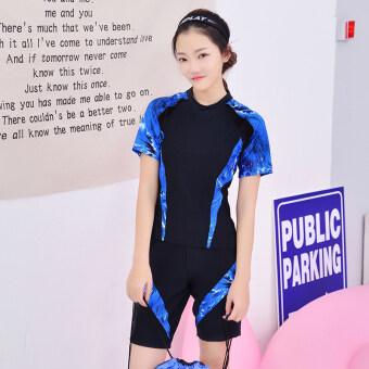 ชุดว่ายน้ำใหม่กีฬาหญิงนักมวย (สีดำบวกไพลิน)