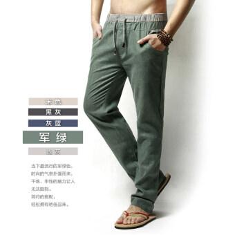 กางเกงผ้าลินินผ้าฝ้ายกางเกงลำลองในช่วงฤดูร้อนส่วนบางตรง (กองทัพสีเขียว)