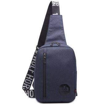 I เกาหลีผู้ชายผ้าใบกระเป๋าเป้สะพายหลังใหม่กระเป๋าหน้าอก (น้ำเงิน)