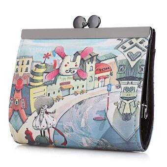 Harga Vintage Windmill Graffiti Oil Painting Metal Frame Purse Coin Case for Lady