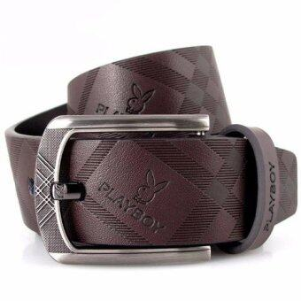 Harga Playboy Men's casual fashion belt Genuine leather belt -Coffee
