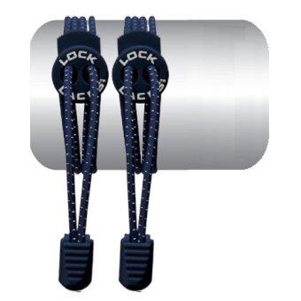 Harga เชือกรองเท้า เชือกผูกรองเท้า ไม่ต้องผูก รองเท้า Lock Laces No-Tie Elastic Shoe Laces Lock And Clip For Custom Fit - Deep Blue