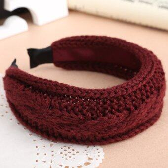 Harga Chic Weave Tw-ist Knitting W-ool Knitted Headband Hair Hoop Wine Red (Intl) - Intl - intl