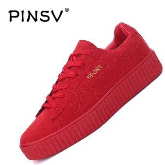Harga PINSV Lovers Unisex Casual Shoes Fashion Sneakers Skate Shoes (Red) - intl