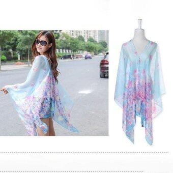 Harga Hang-Qiao Floral Print Chiffon Shawls Scarf Pearl Button Sunscreen Clothing Scarf (Light Blue) - intl