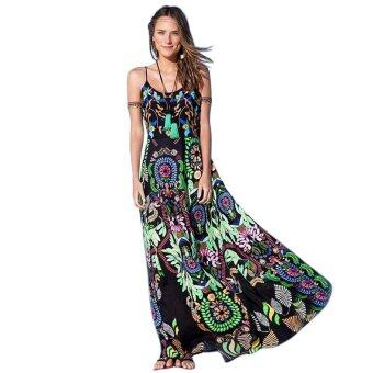 Harga ZAFUL Women sleeveless dress Ethnic spaghetti strap printing X185(Intl)