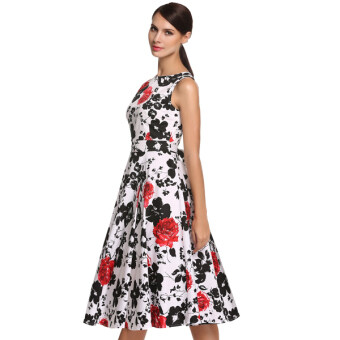 Harga Cyber ACEVOG Stylish Lady Women's Fashion Casual Sleeveless Floral Printed Mid-calf Length Party Cocktail Evening Dress